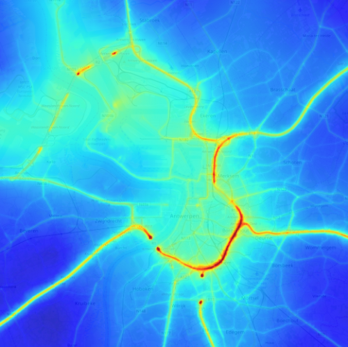 Figure 1: Modelled spatial distribution of NO2 in Antwerp region. Credit: maps.atmosys.eu.