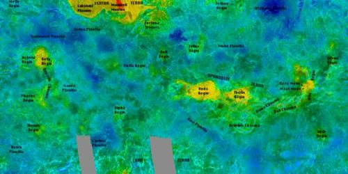 Venus radar images altitude map