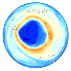 Antarctic ozone hole in August 2013.