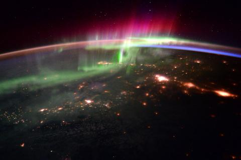Polar lights (aurora) over northern Canada