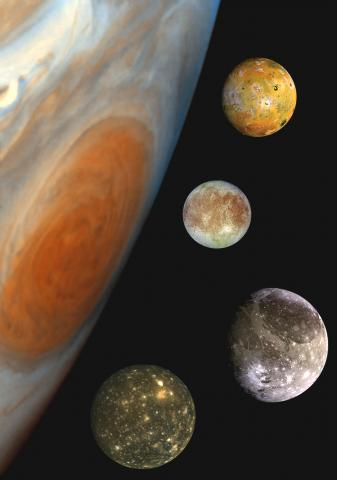 Jupiter and the four Galilean moons