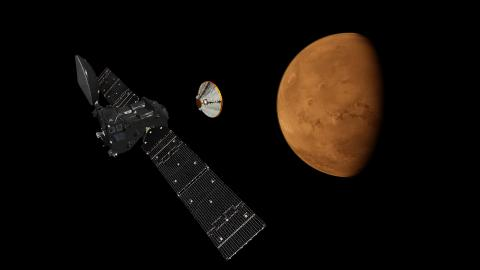 Exomars orbiter and descent module separated